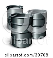 Clipart Illustration Of Three Unmarked Barrels Of Gasoline