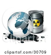Clipart Illustration Of Earths Oil Draining Onto The Ground In Front Of A Barrel Of Gasoline