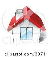 Clipart Illustration Of A Little White House With A Big Window Chimney And Red Roof by beboy