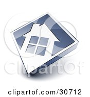 Clipart Illustration Of A White House Icon On A Blue Diamond by beboy