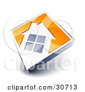 Clipart Illustration Of A White House Icon On An Orange Diamond by beboy