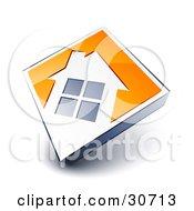 White House Icon On An Orange Diamond