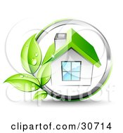 Clipart Illustration Of An Organic Vine Growing On A Chrome Circle Around A White House With A Green Roof by beboy