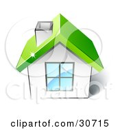 Clipart Illustration Of A Little White House With A Big Window Chimney And Green Roof by beboy