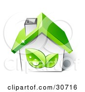 Clipart Illustration Of Two Green Dewy Leaves On The Side Of A Small Home With A Green Roof by beboy