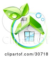 Clipart Illustration Of A Circle Of Dew Drops And Green Leaves Around A White Eco Friendly Home by beboy