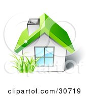 Clipart Illustration Of Green Grass Growing In Front Of A Small White House With A Large Window And Green Roof by beboy