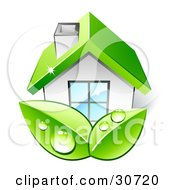 Clipart Illustration Of Two Big Green Organic Dewy Leaves In Front Of A Home With A Green Roof