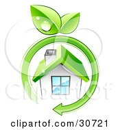 Clipart Illustration Of A Green Arrow With Dewy Leaves Circling A Small White Eco Friendly Home With A Green Roof