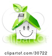 Friendly Smiling House Character With A Green Roof And Leaves Emerging From The Chimney