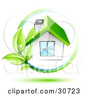Clipart Illustration Of A Vine With Dewy Green Leaves Circling A White House With A Chimney And Green Roof by beboy #COLLC30723-0058