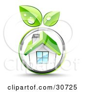 Clipart Illustration Of Green Leaves Growing On A Chrome Circle Around A White House With A Green Roof
