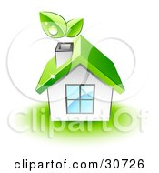 Dewy Leaves Above The Chimney Of A White Home With A Green Roof