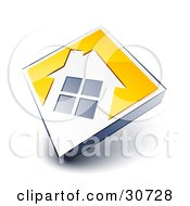 Clipart Illustration Of A White House Icon On A Yellow Diamond