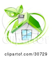 Clipart Illustration Of A Green Circle With Dewy Leaves Around An Eco Friendly White House With A Green Roof