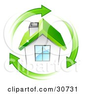 Circle Of Green Arrows Around A Small White House With A Green Roof