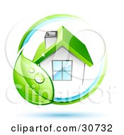 Clipart Illustration Of A Vine With A Green Leaf Circling A White House With A Chimney And Green Roof by beboy