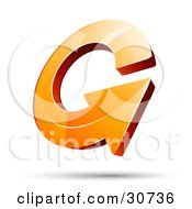 Clipart Illustration Of A 3d Orange Arrow Circling Over A Shadow