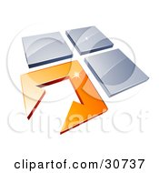 Clipart Illustration Of An Orange Arrow Tile Pointing To Three Other Tiles