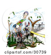 Clipart Illustration Of A Dirty Nervous Sweaty Male Caucasian Mountain Biker Riding Downhill Between Trees Near A Rattlesnake His Opponents Clumsily Following Behind