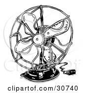 Clipart Illustration Of A Small Electrical Fan With The Plug Resting On A Surface