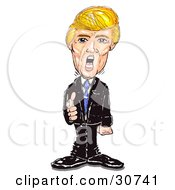 Clipart Illustration Of Donald Trump Standing And Pointing Yelling And Firing People by Spanky Art