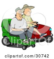 Clipart Illustration Of Two Guys Operating Green And Red Riding Lawn Mowers