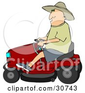 Clipart Illustration Of A White Man In A Sun Hat Driving A Red Riding Lawn Mower