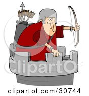 Clipart Illustration Of An Archer Soldier In A Tower Defending A Fortress With A Bow And Arrows by djart