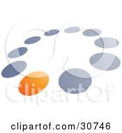 Clipart Illustration Of A Pre Made Logo Of One Orange Dot In A Circle Of Blue And Gray Dots by beboy