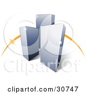 Clipart Illustration Of A Pre Made Logo Of An Orange Dash Behind Three Tall City Skyscrapers