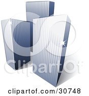 Clipart Illustration Of A Pre Made Logo Of Three Tall City Skyscrapers by beboy