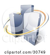 Clipart Illustration Of A Pre Made Logo Of Orange And Blue Lines Circling Three Tall City Skyscrapers