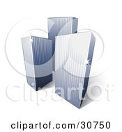 Clipart Illustration Of Three Tall City Highrise Buildings With Sunlight Beaming Off Of The Corners