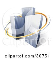 Clipart Illustration Of Orange And Blue Circles Around Urban City Skyscrapers