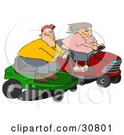 Clipart Illustration Of A White Couple A Man And Woman Racing Eachother On Riding Lawn Mowers