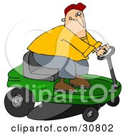 Clipart Illustration Of A White Guy Biting His Lip While Steering A Green Riding Lawn Mower In A Race