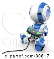 Clipart Illustration Of A Blue AO Maru Robot Sitting On The Floor And Playing A Video Game With A Controller by Leo Blanchette
