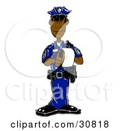 Black Male Cop In A Blue Uniform Standing And Issuing A Warning Or Ticket While On Patrol