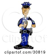 Hispanic Male Cop In A Blue Uniform Standing And Issuing A Warning Or Ticket While On Patrol