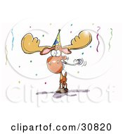 Happy Moose Wearing A Hat And Blowing A Noise Maker At A Birthday Or New Years Eve Party