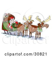 Clipart Illustration Of An Annoyed Elf Resting On Santas Toy Sack As They Try To Get The Outsourced Mooses To Move The Sleigh by Spanky Art