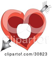 Cupid Through A Red Heart With Space For A A Circle Photo Frame In The Center