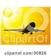 Clipart Illustration Of An Airplane Silhouetted In Black Against A Bright Yellow Sun And Sunshine In The Sky