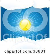 Clipart Illustration Of A Brightly Shining Sun Casting Rays Of Light In A Blue Sky Between Puffy White Clouds by elaineitalia