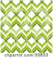 Clipart Illustration Of A Retro Green And White Repeat Background Of Green Waves Or Leaves