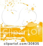 Clipart Illustration Of A Disco Funky Grunge Background Of A Yellow Sparkling Disco Ball With Splatters On White