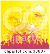 Clipart Illustration Of A Pink Silhouetted Crowd Partying In Front Of A Yellow Disco Ball Planet With Palm Trees Butterflies A Plane And Equalizer Bars Under A Yellow Sun