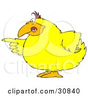 Clipart Illustration Of A Chubby Yellow Bird Pointing An Accusatory Finger At Someone
