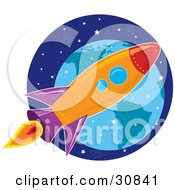 Clipart Illustration Of A Space Exploration Shuttle Flying In The Starry Sky Near Planet Earth by Maria Bell